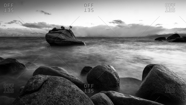 Boulders at the East shore of Lake Tahoe, California, USA