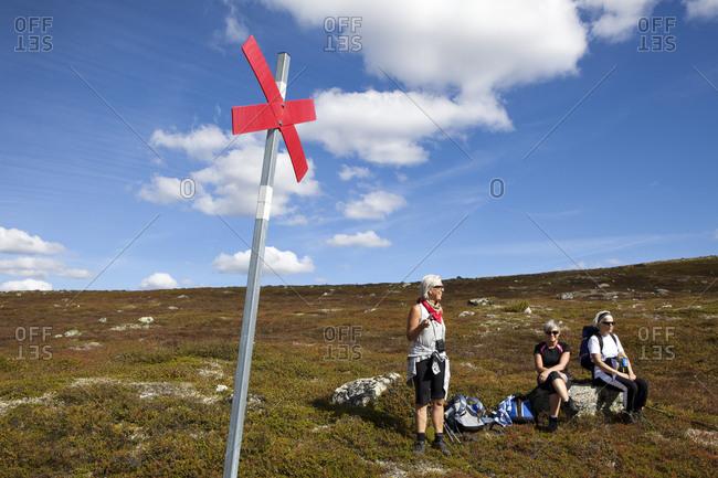 Senior women hiking