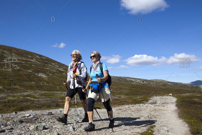 Senior women hiking