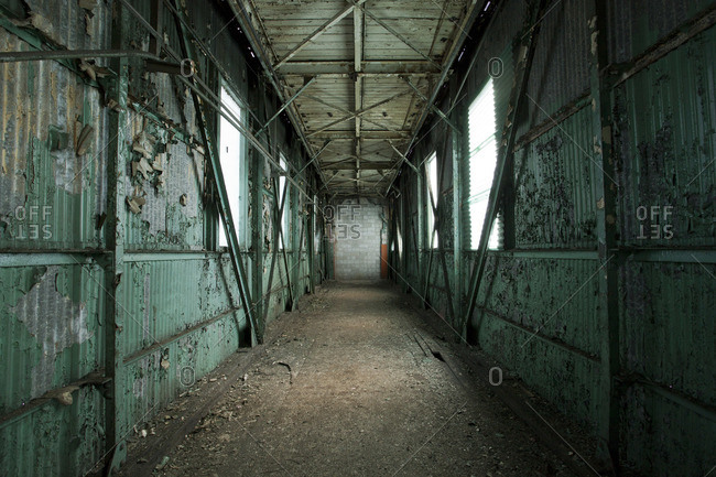 Empty hallway in an abandoned building