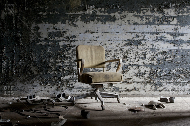 Office chair in an abandoned power station