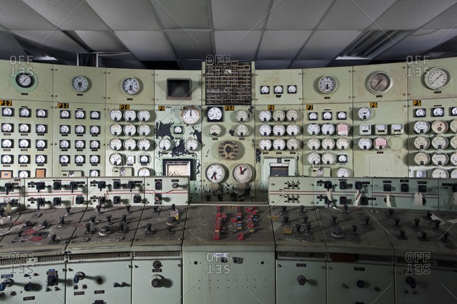 Control panel in an abandoned power plant