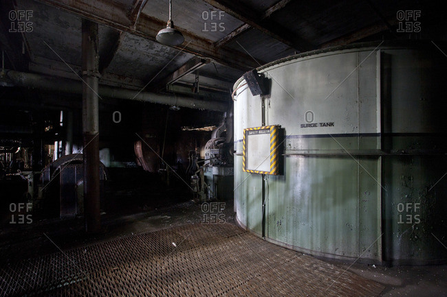 Surge tank in an abandoned power plant