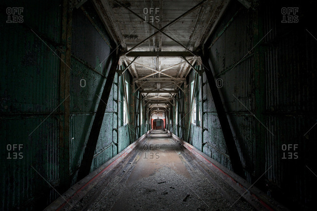 Industrial hallway in an abandoned building