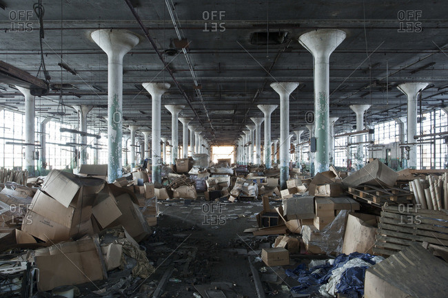 Debris in the hall of an abandoned tire plant