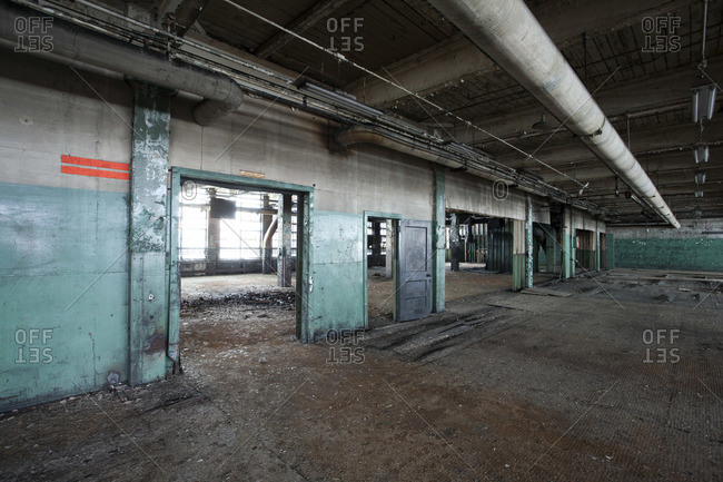 Empty hall of an abandoned tire plant