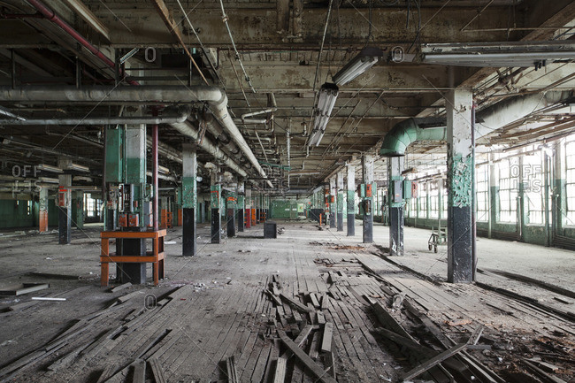 Vast hall of an abandoned tire plant