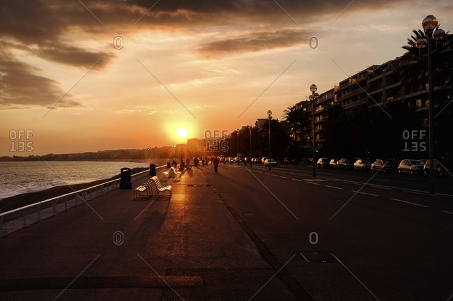 Promenade des Anglais at sunset in Nice, France