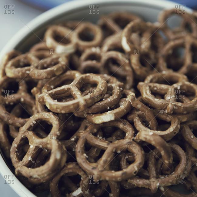 Close up of a bowl of pretzels
