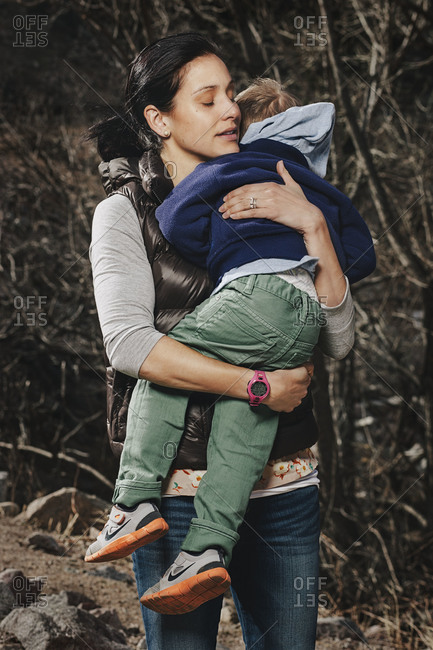 Boulder, Colorado, USA - February 17, 2014: Runner Kara Goucher and her son Colt Kara and Colt were a block and a half away from the site of the Boston Marathon bombing when the explosions occurred