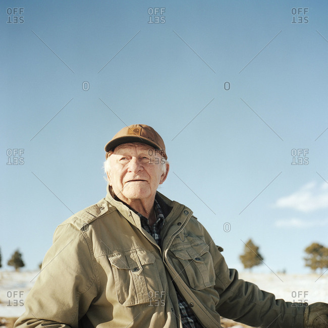 Kiowa, Colorado, USA - December 27, 2011: Ernie Hartnagle herding sheep