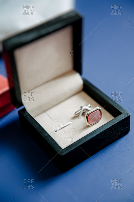 Close up of cufflinks in a box