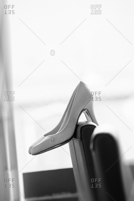 Close up of a pair of bridal shoes