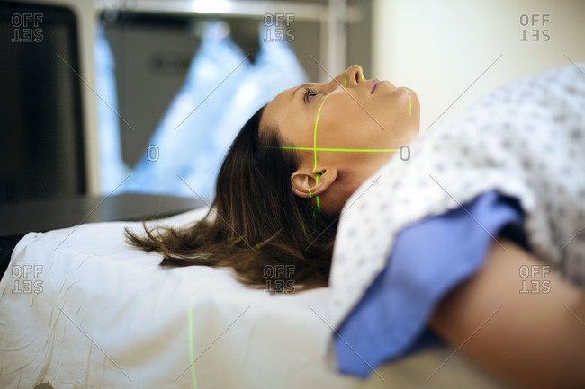 Close up of woman being treated with radiotherapy
