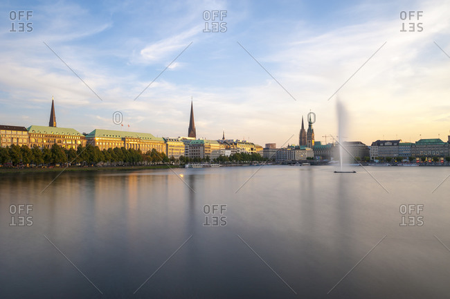 Inner Alster and Alster fountain in the evening light, Hamburg