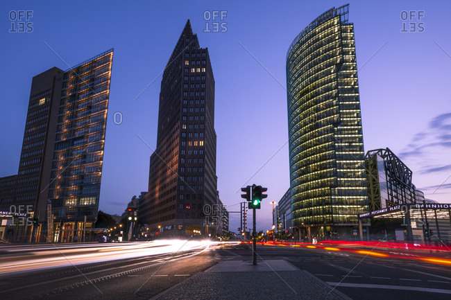Bahntower and road traffic in the evening, Berlin