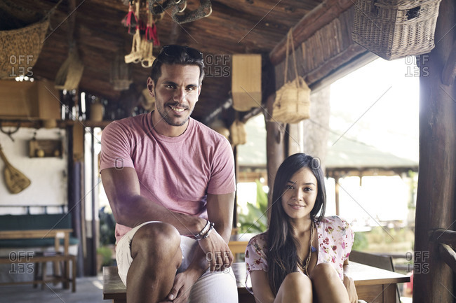 Woman and man in resort bar