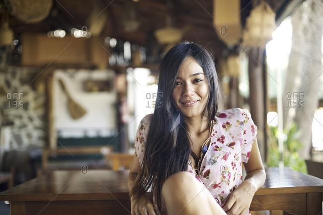 Woman in resort bar