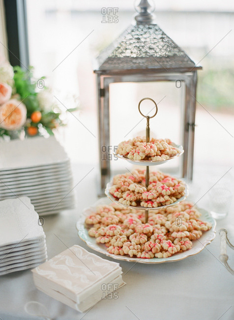 Cookies on three-tier cake stand