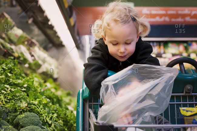 Young girl putting broccoli into a plastic bag