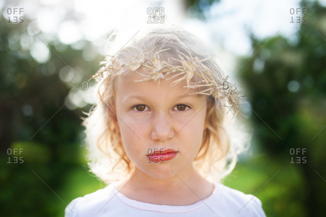 Portrait of a girl pouting
