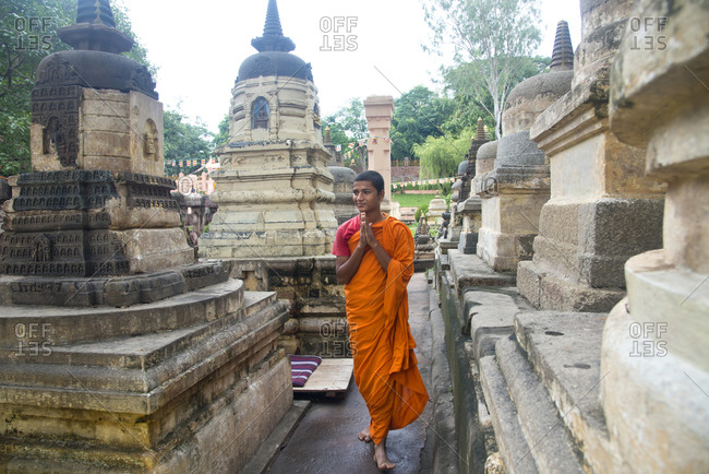 October 10, 2013 - Bodh Gaya, India: Buddhist monk at the Mahabodhi Temple Complex
