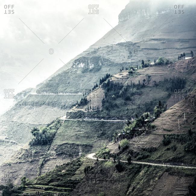 Terraced farms along hillsides