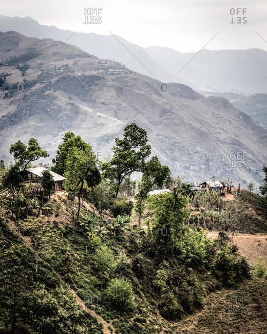 A village on a hilltop