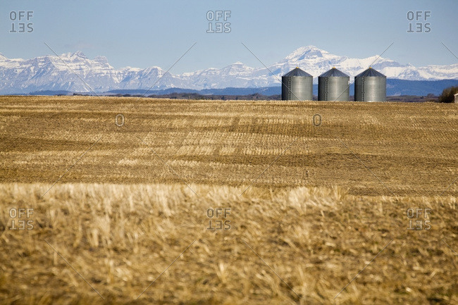 Metal grain bins in Stubble Field with snow covered mountains in the background and blue sky
