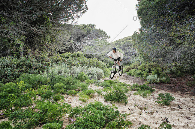 Cycling over rugged terrain, Tarifa Cadiz Andalusia, Spain