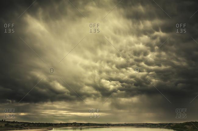 Mammatus storm clouds above the Saskatchewan Prairies
