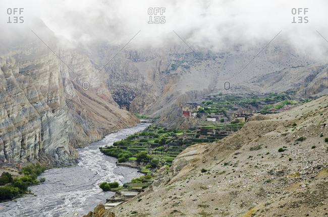 Terraces of Nepalese Tetang village, Nepal
