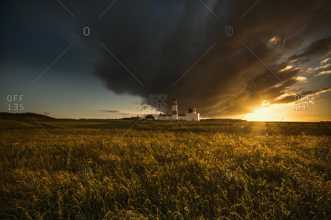 A dark cloud formation above a field at sunset