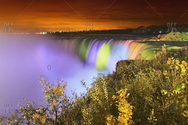 Horseshoe Falls lit up at night, Niagara falls, Ontario