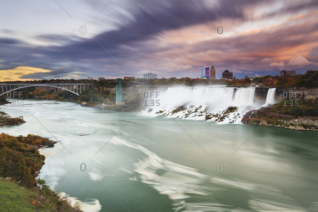 American Falls and Niagara river at dusk, New York