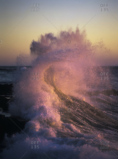 A wave, glowing pink, breaks on the shore at sunset, Oregon