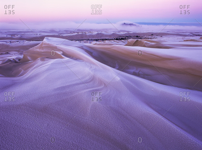 Winter carves and decorates the Umpqua Dunes, Oregon
