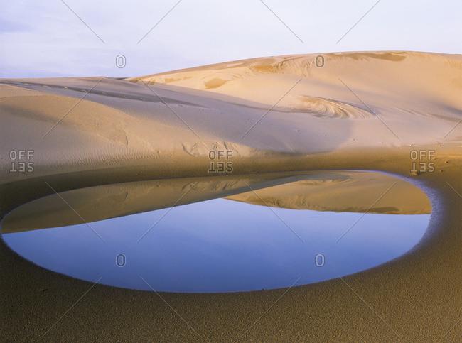 An ephemeral pond mirrors the Umpqua Dunes, Oregon
