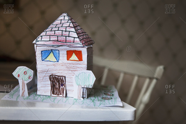 Children's handmade house made of paper