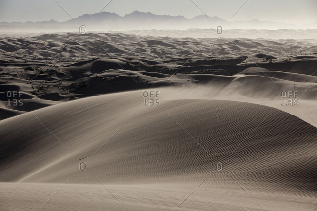 Sand blowing in the wind in a desert