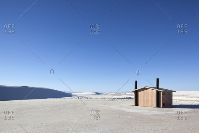 View of a building in a salt pan desert