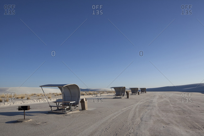 Picnic shelters in a salt pan desert