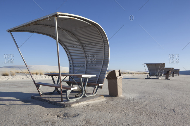 View of a picnic shelter in a salt pan desert