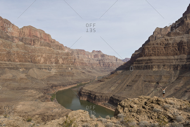 April 15, 2014 - Arizona, USA: Woman posing in front of the Grand Canyon