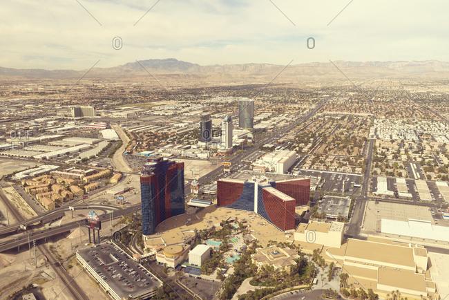 April 15, 2014 - Las Vegas: Aerial view of high rises in Las Vegas