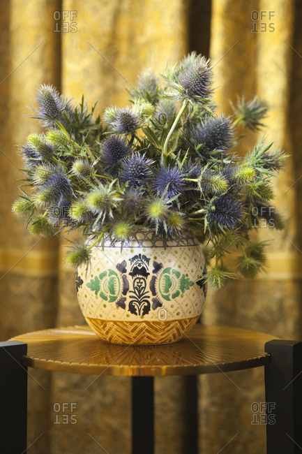 Thistle bouquet on a table