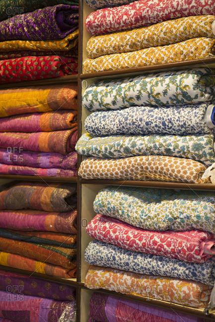 Colorful textiles in an emporium in Udaipur, India