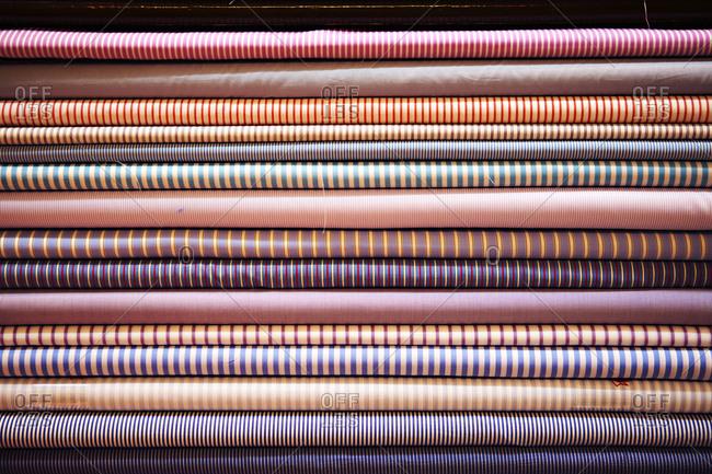 Various textiles in an emporium in Udaipur, India