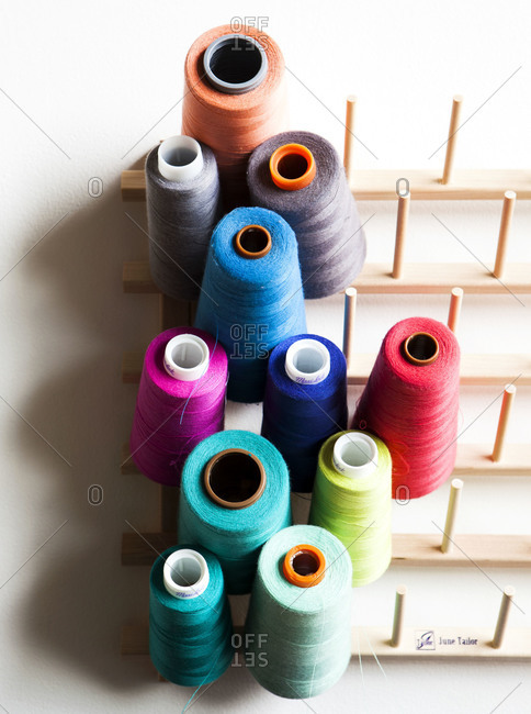 Spools of colored yarn