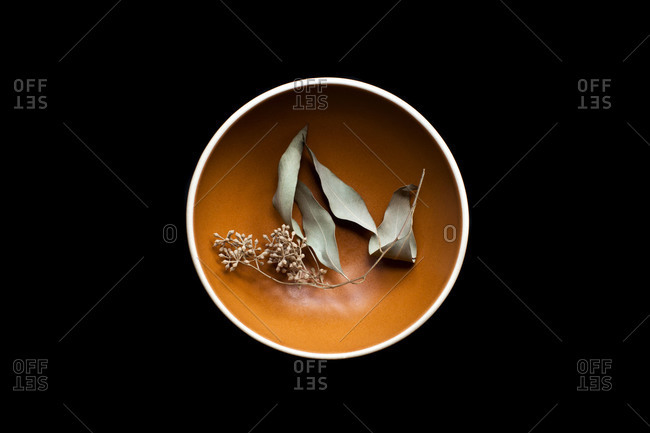 Dried leaves and seed pods in an orange bowl